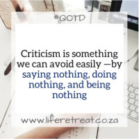 Criticism is good